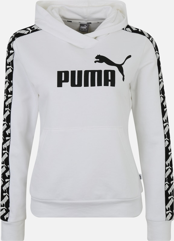 PUMA Sportief sweatshirt 'Amplified' in de kleur Zwart / Wit, Productweergave