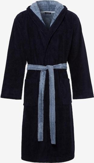SCHIESSER Badjas lang  in de kleur Nachtblauw / Lichtblauw, Productweergave