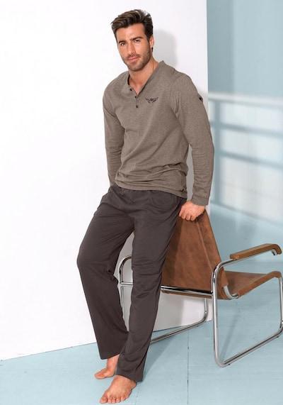 ARIZONA Pyjama in dunkelbraun / braunmeliert, Produktansicht