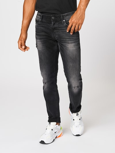 JACK & JONES Jeans 'IGLENN' in de kleur Black denim: Vooraanzicht