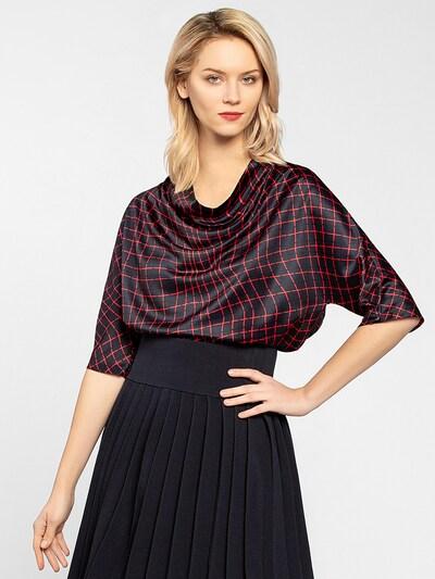 APART Bluse aus leichtem, seidigem Material in nachtblau / rot: Frontalansicht