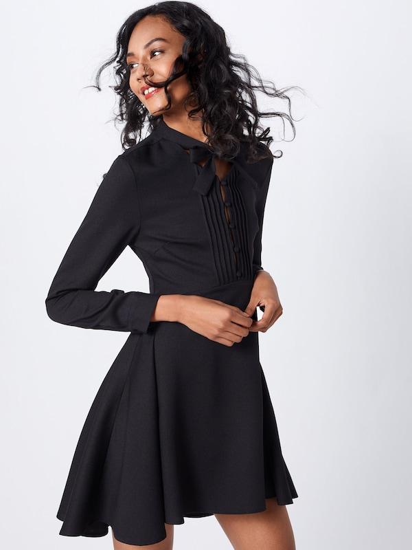 Front Dress Missguided En Noir 'tie Button Robe Neck Black' 5j34ARL
