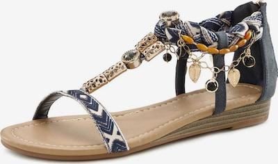 LASCANA Sandale in goldgelb / gold / violettblau / weiß, Produktansicht