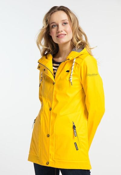 Schmuddelwedda Regenjacke in gelb, Modelansicht