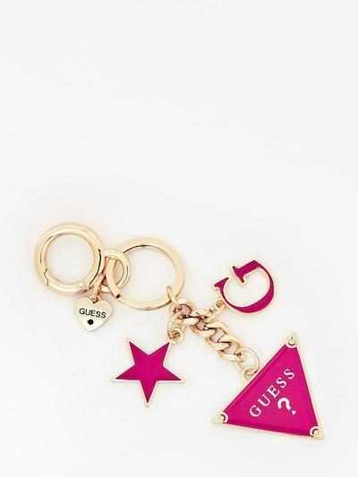 GUESS Schlüsselanhänger in gold / dunkelpink, Produktansicht