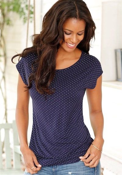 LASCANA Shirt mit breitem Bündchen in ultramarinblau, Produktansicht