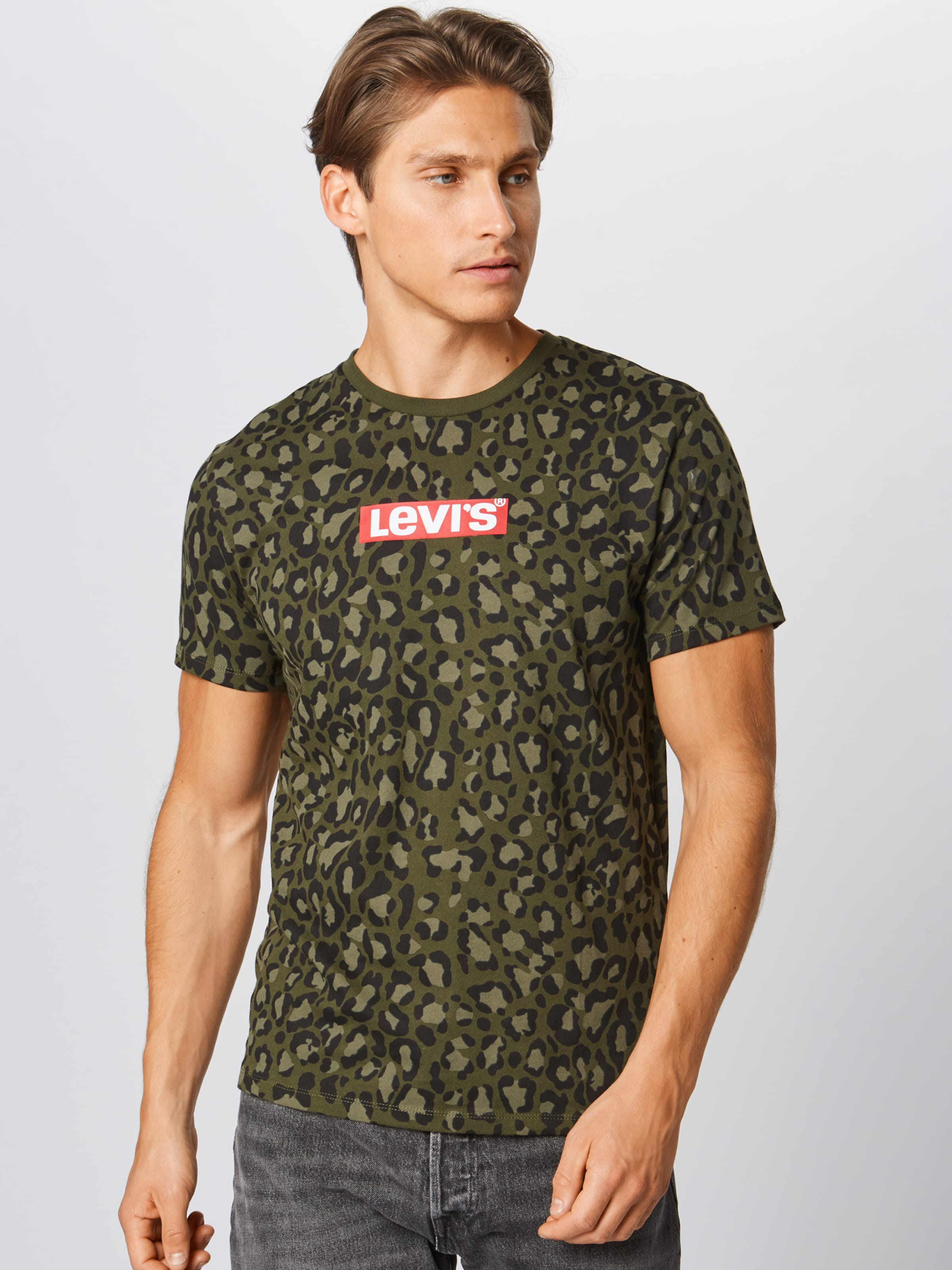 Set 2' Levi's 'graphic In shirt Neck in T BraunDunkelgrün OZkiuPXT