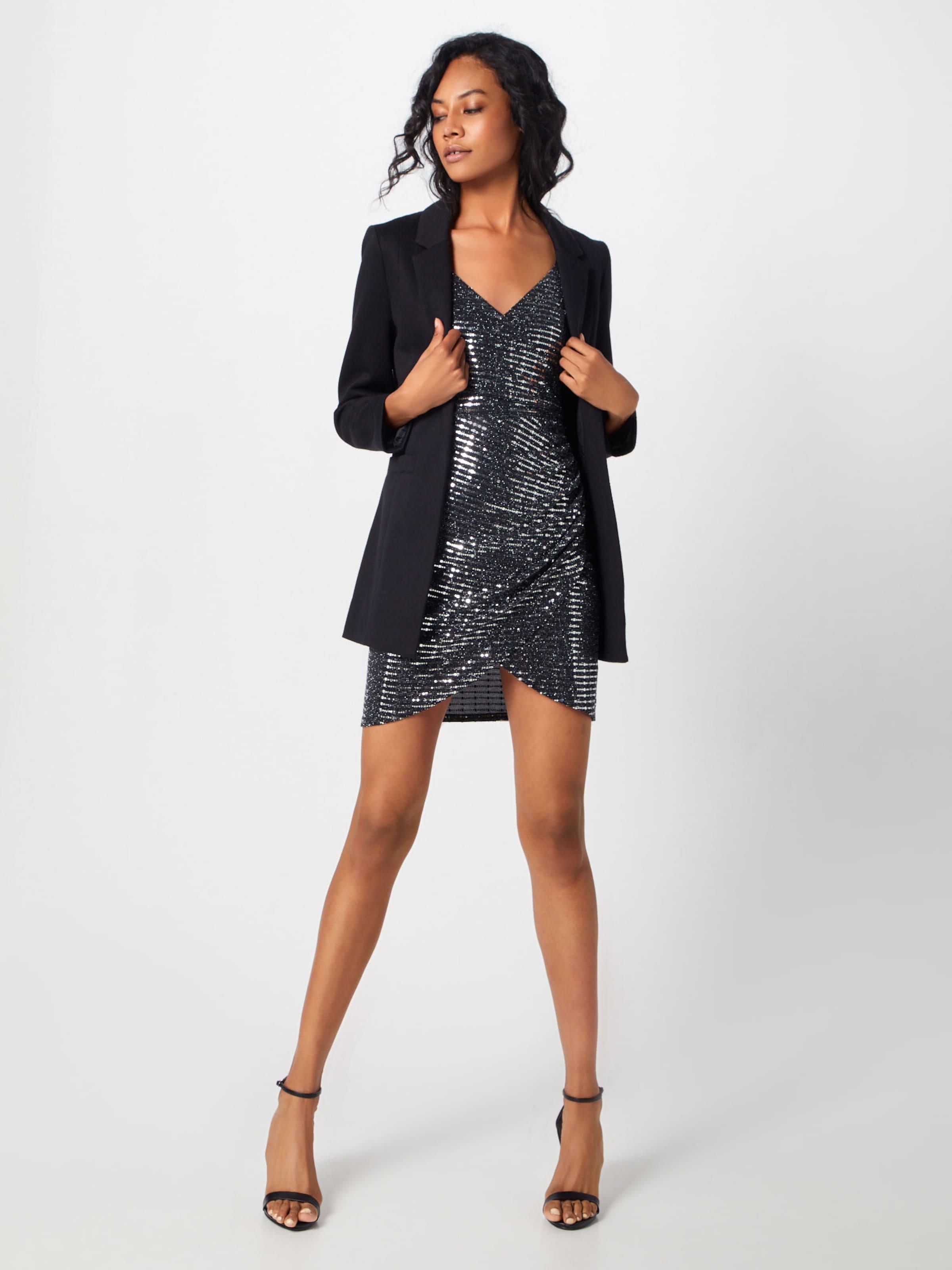 Wrap' Strappy Kleid In SchwarzSilber Boohoo 'metallic 8Pkn0wO