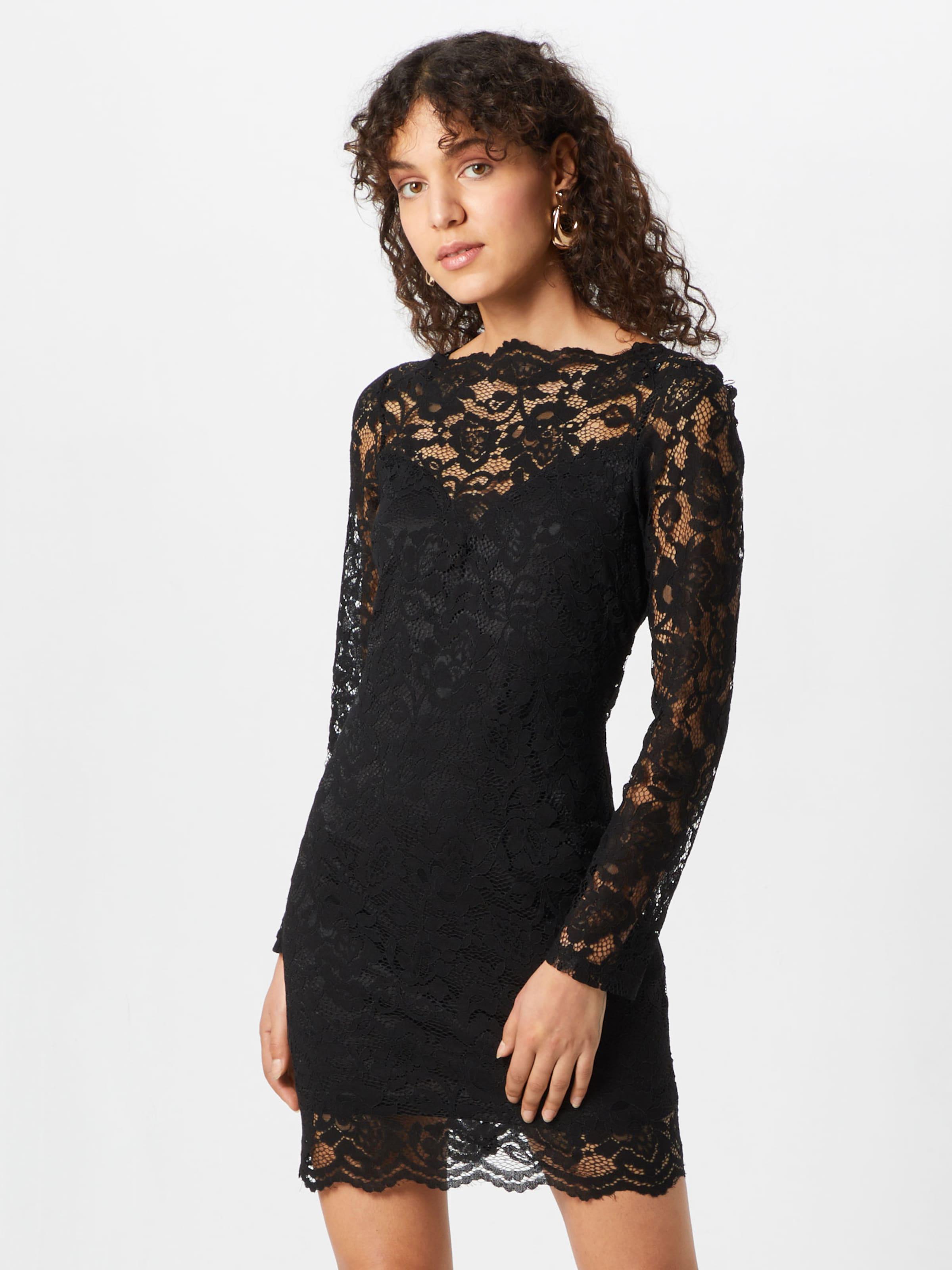 Robe Missguided Mini' Long Noir Sleeve 'scallop Neck En Lace tsrhdxQC