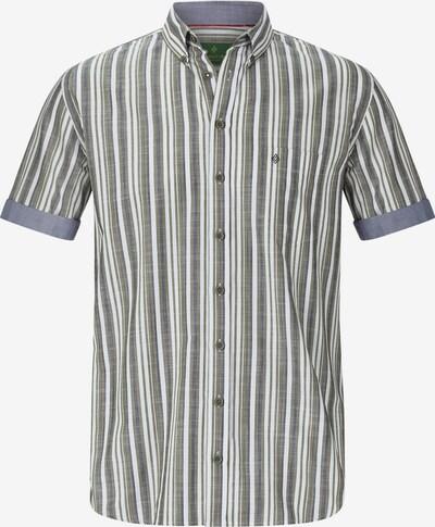 Charles Colby Overhemd 'Owain' in de kleur Olijfgroen / Wit: Vooraanzicht