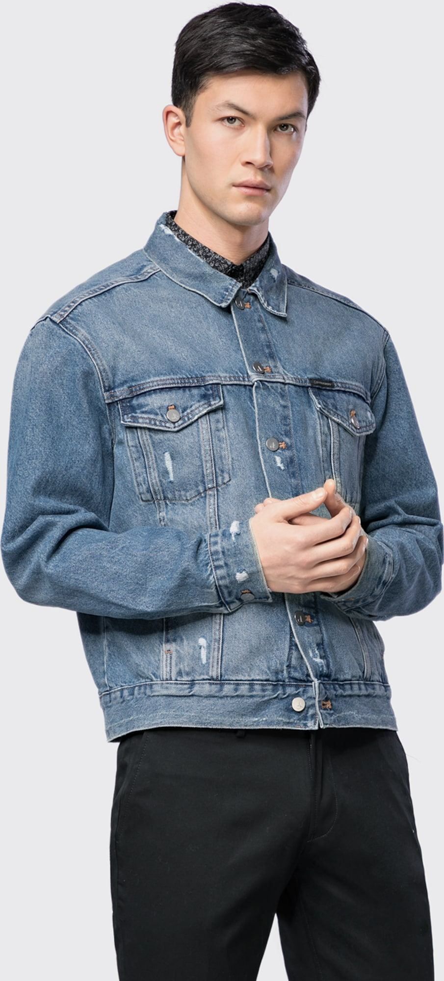 calvin klein jeans jeansjacke 39 classic trucker vintage a rgd 39 in blau about you. Black Bedroom Furniture Sets. Home Design Ideas