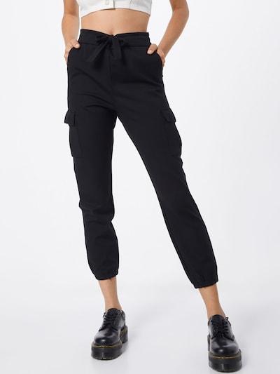Pantaloni cu buzunare 'ONLPOPTRASH CARGO' ONLY pe negru: Privire frontală