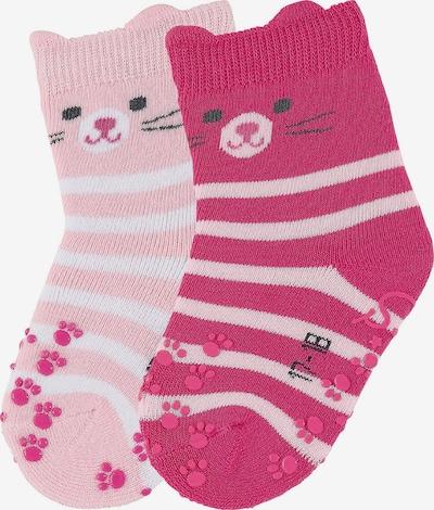 STERNTALER Socken 'Katze' in rosa / dunkelpink / schwarz / weiß, Produktansicht