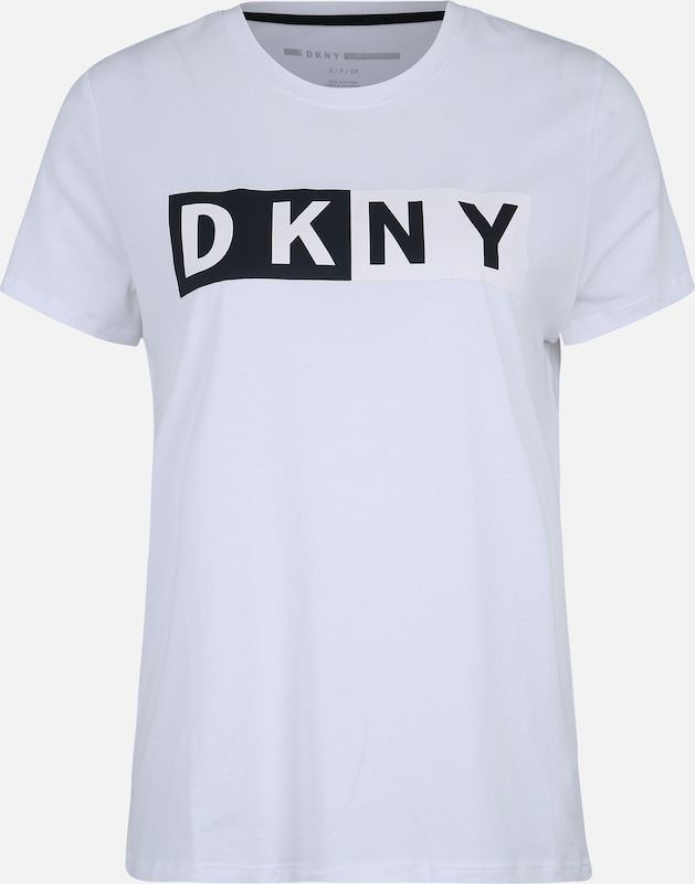 DKNY Sport Functioneel shirt 'CREW NECK SHORT-SLEEVE TEE' in de kleur Wit, Productweergave