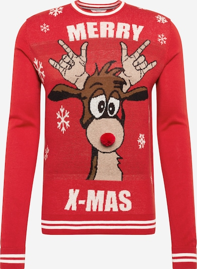 !Solid Pullover  'Gerald O-Neck X-Mas' in rot, Produktansicht