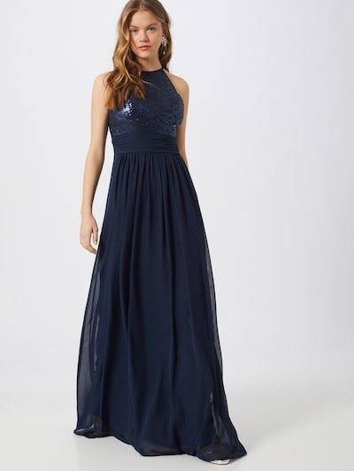 STAR NIGHT Kleid 'long dress (american cut) chiffon & sequins' in navy, Modelansicht