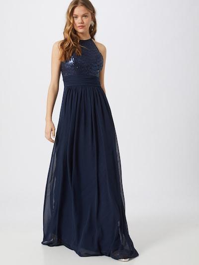 STAR NIGHT Kleid 'long dress (american cut) chiffon & sequins' in navy: Frontalansicht