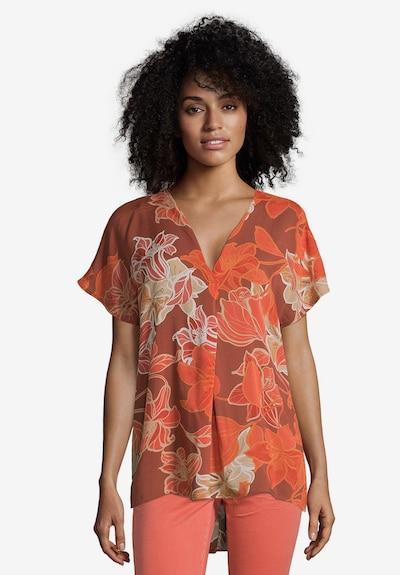 Cartoon Bluse in braun / orange / dunkelorange, Modelansicht
