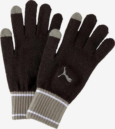 PUMA Fingerhandschuhe in greige / schwarz / weiß, Produktansicht