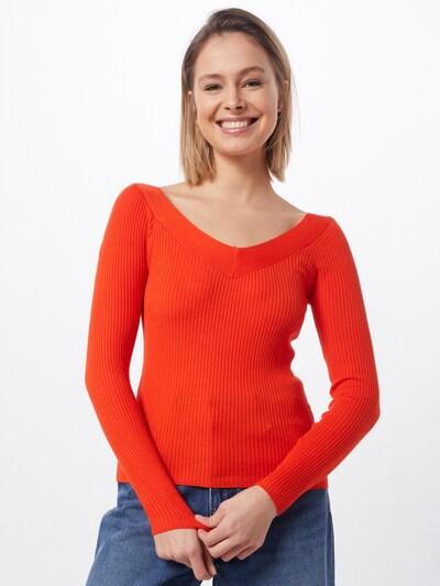 ONLY Pullover & Strickjacken 'ONLTANZIA L/S V-NECK PULLOVER KNT' in orange, Modelansicht