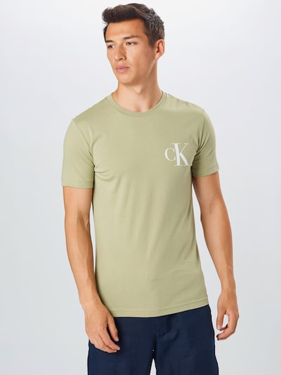 Calvin Klein Jeans Tričko - sivá / svetlozelená / biela: Pohľad spredu