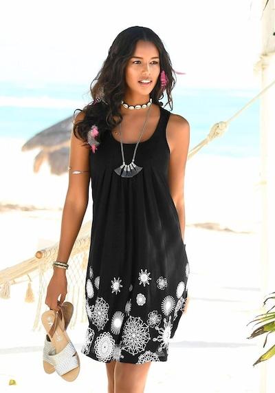 BEACH TIME Plážové šaty - černá / bílá, Model/ka