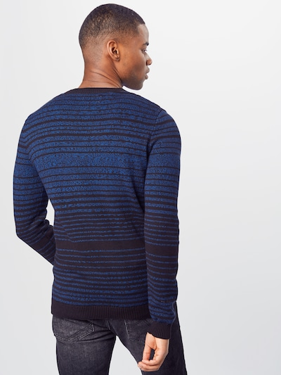 TOM TAILOR Trui 'striped sweater' in de kleur Blauw: Achteraanzicht