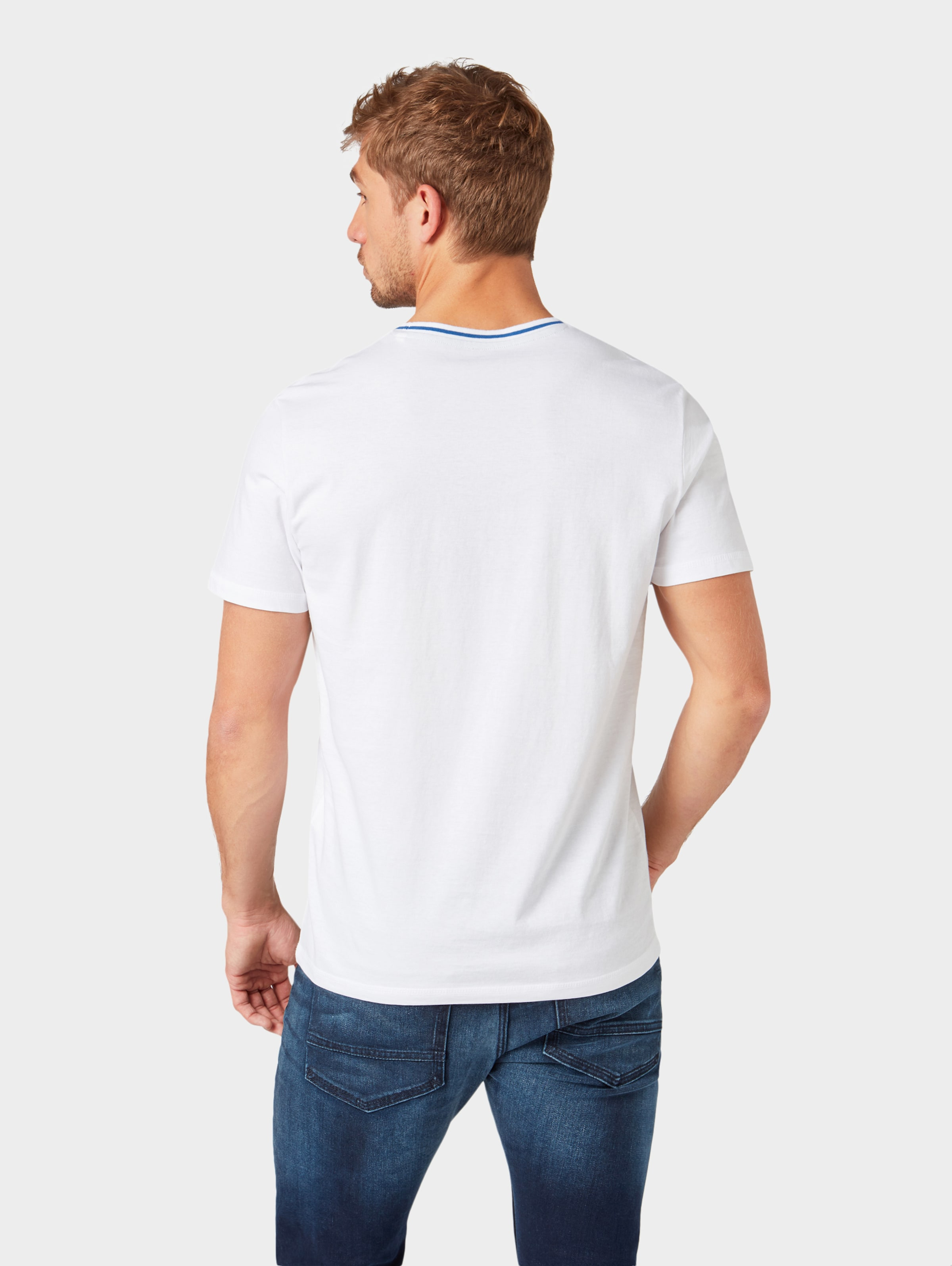 T Tom shirt HimmelblauTaupe In Weiß Tailor wN0Ov8nm