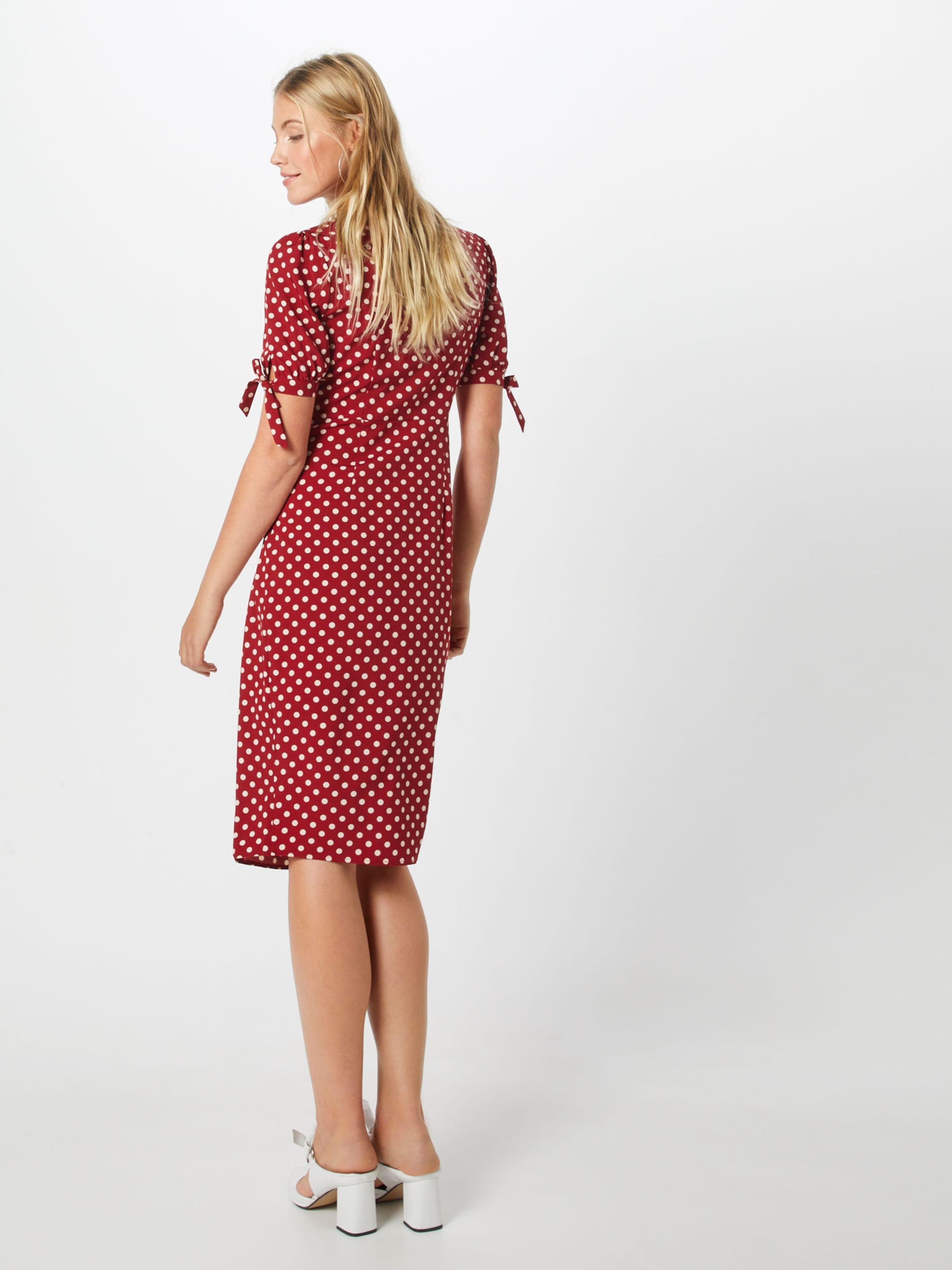Robe En Boohoo Polka Dress' 'wrap Midi Front Bourgogne orBedCx