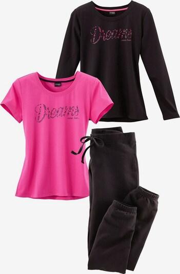 VIVANCE Pyjamaset 3 tlg. in dunkelpink / schwarz, Produktansicht