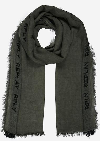 REPLAY Schal in dunkelgrün / schwarz: Frontalansicht