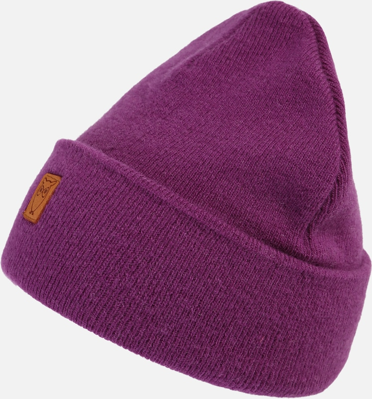 KnowledgeCotton Apparel Mütze 'Beanie organic wool - GOTS' in lila, Produktansicht
