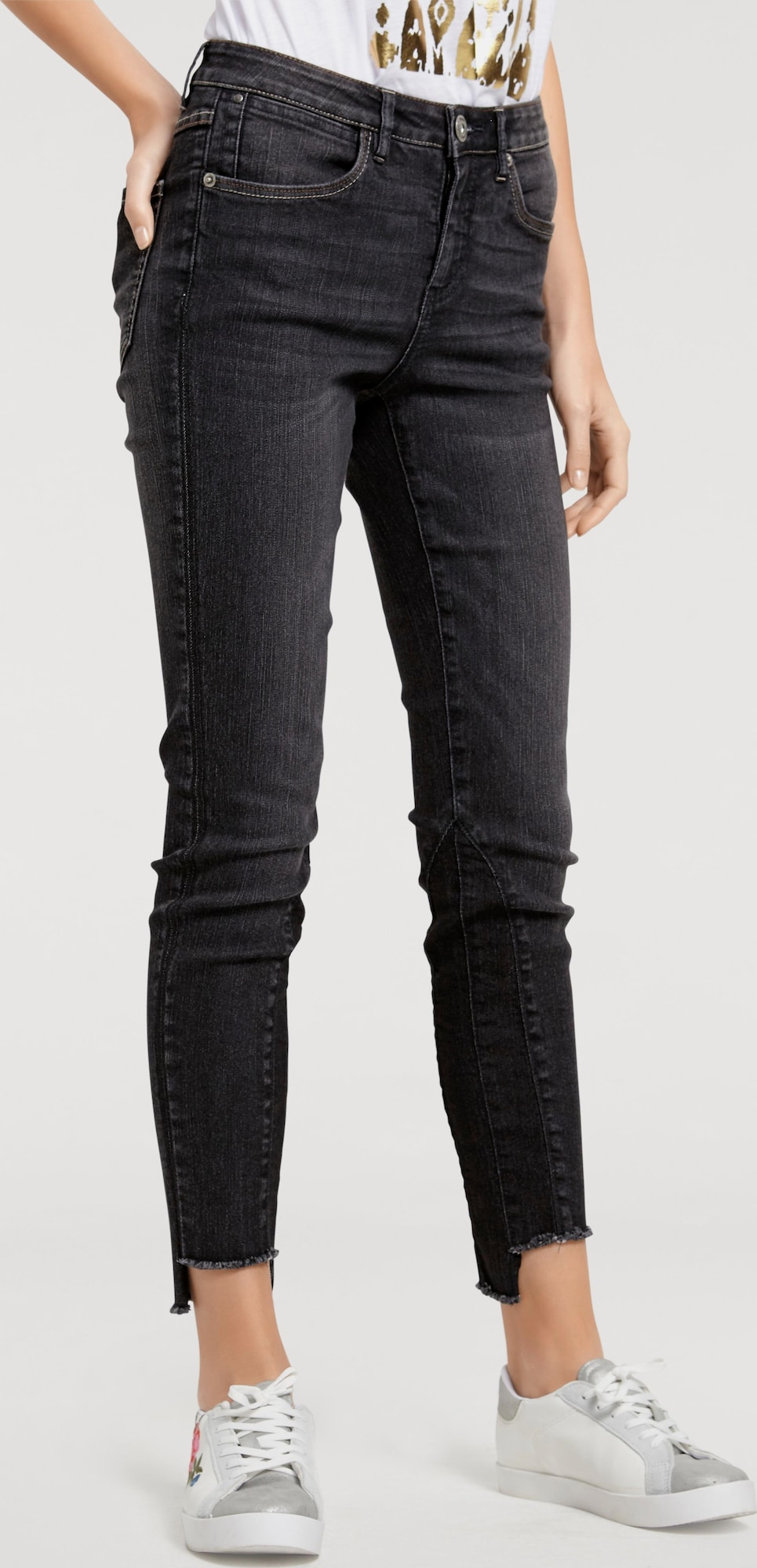 b c best connections by heine 7 8 jeans mit fransen in. Black Bedroom Furniture Sets. Home Design Ideas