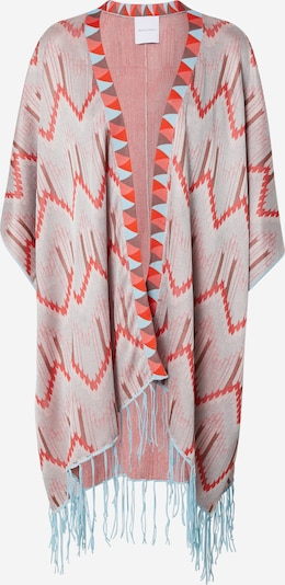 DELICATELOVE Pulover 'Poshi Zig Zag' | voda / rjava / roza / rdeča barva, Prikaz izdelka