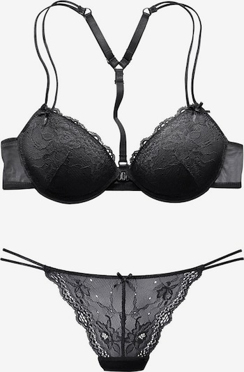 MELROSE Set: Push-up-BH + String in schwarz, Produktansicht