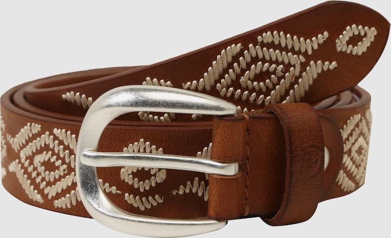 Tom Tailor Denim Leather Belt With Embroidery