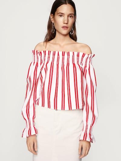 EDITED Bluse 'Lexie' in rot / weiß: Frontalansicht
