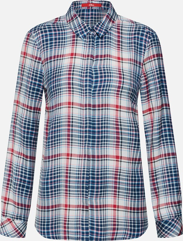 Langarm' Wit Red In Blouse oliver 'bluse Label BlauwBloedrood S 08nwOXPk