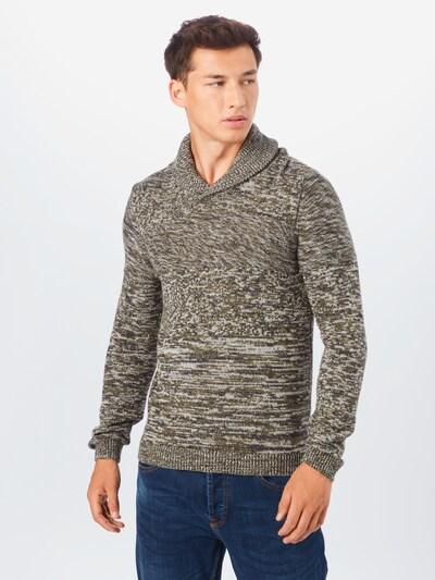 BLEND Pullover in khaki / weiß: Frontalansicht