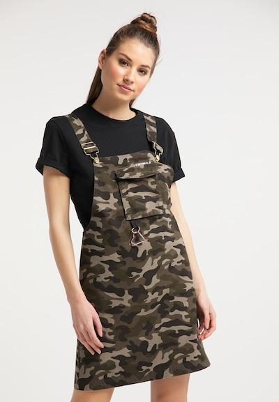 MYMO Latzkleid in hellbeige / khaki / schwarz, Modelansicht