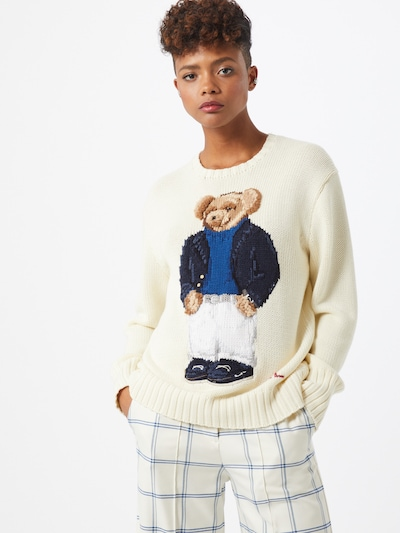 POLO RALPH LAUREN Svetr 'YACHT BEAR-LONG SLEEVE-SWEATER' - béžová, Model/ka