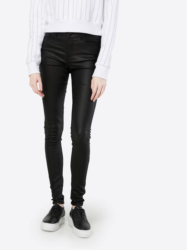 VERO MODA Enge Jeans in Lederoptik 'VMSEVEN NW S.SLIM SMOOTH'