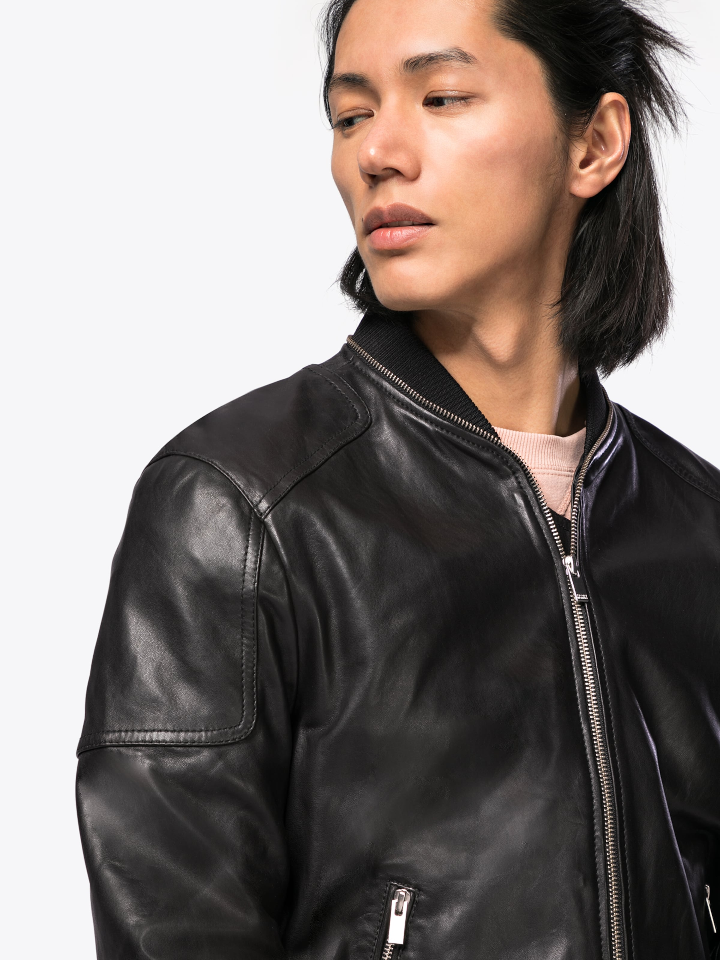 THE KOOPLES SPORT Jacke 'TEDDY-STYLE LEATHER JACKET WITH A ZIP AROUND THE COLLAR' Billig Wie Viel Qualität Für Freies Verschiffen Verkauf Klassische Online-Verkauf Rabatt Shop-Angebot Kd0ewxIT