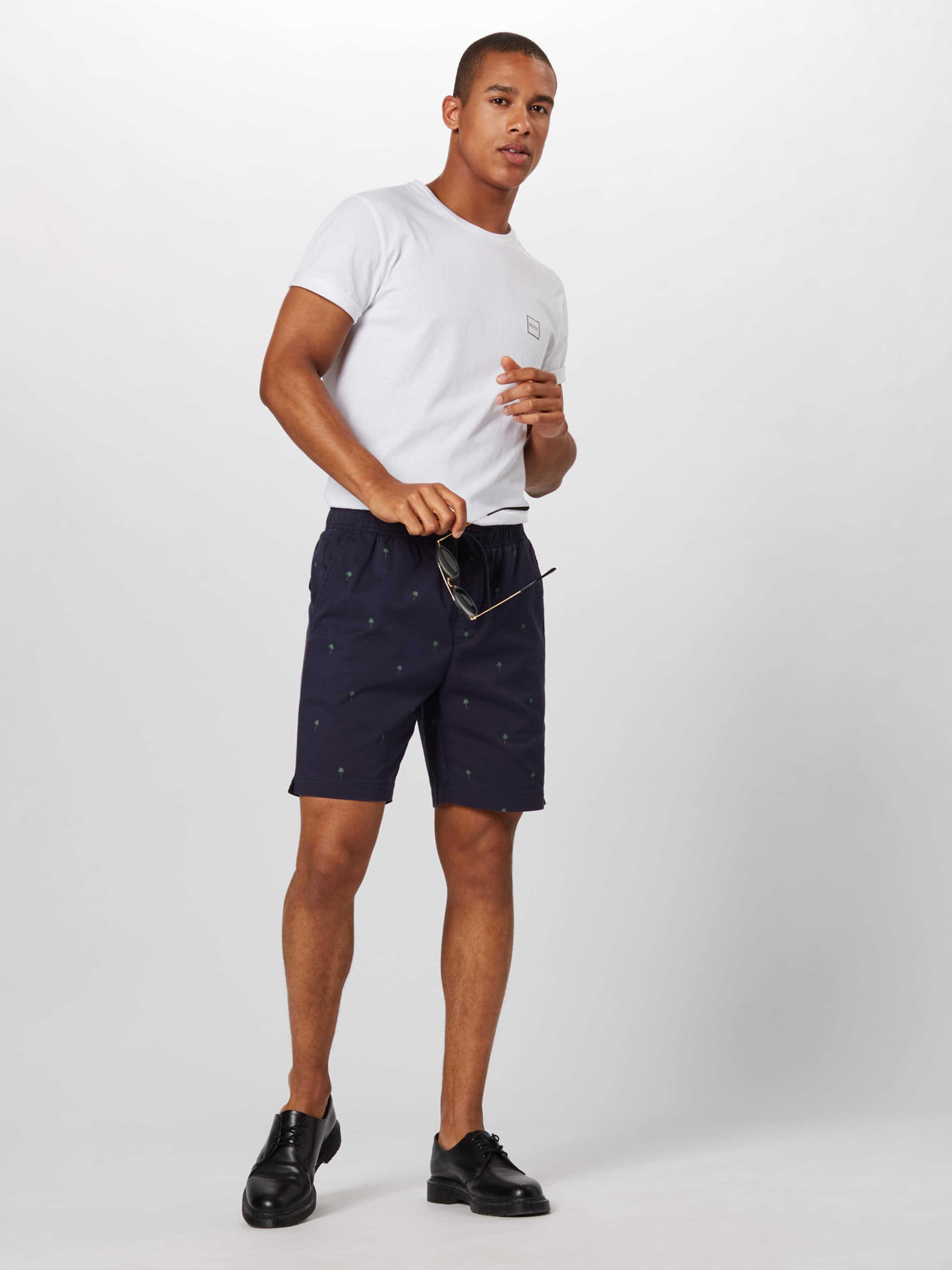 Bleu Republic 'easy Short Palm' Pantalon Navy Marine Banana En 8mN0wvn