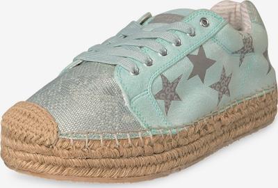 Soccx Plateau-Espadrille mit Sternen-Print in grün / silber, Produktansicht