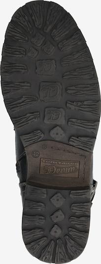 TOM TAILOR DENIM Škornji z vezalkami | črna barva: Pogled od spodaj