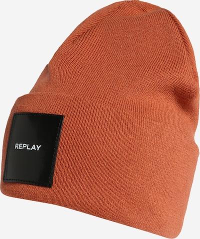 REPLAY Mütze in dunkelorange / schwarz / weiß, Produktansicht