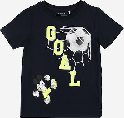 NAME IT Shirt 'Mickey' in dunkelblau / gelb / weiß: Frontalansicht