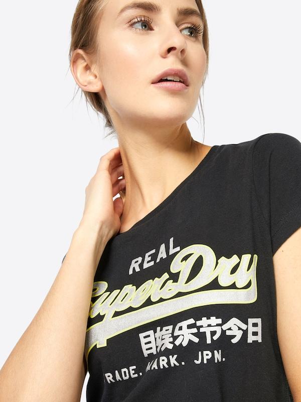 shirt Tee' Entry Logo T 'vintage Superdry Neon Schwarz 5nTfafw