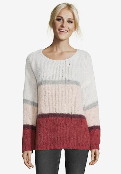 Cartoon Pullover in grau / pink / rot / weiß, Modelansicht